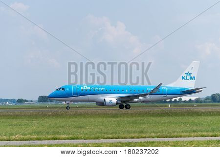 SCHIPHOL NETHERLANDS - JUNE 4 2016: KLM airplane takes off at amsterdam international airport. There are 163 destinations served by KLM