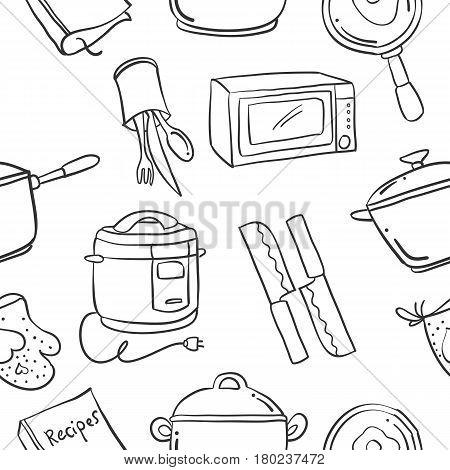 Collection stock of kitchen set element doodles vector art