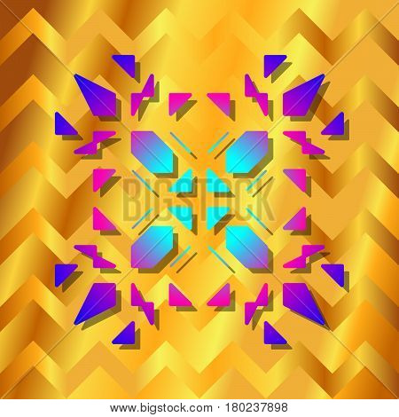Indie triangle ornate colorful vector on gold pattern