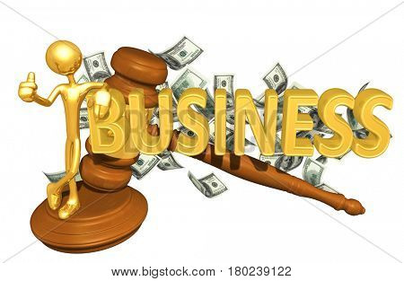The Original 3D Character Illustration With A Gavel Leaning On The Word Business