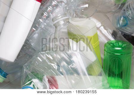 Photography of utilized PET bottles