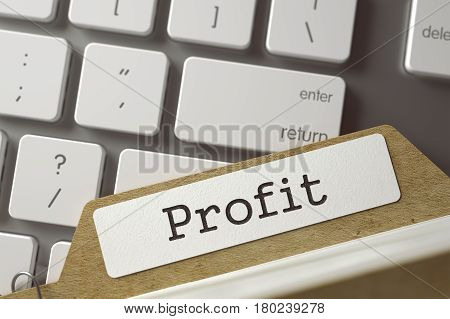 Profit. Folder Register Lays on Modern Metallic Keyboard. Business Concept. Closeup View. Toned Blurred  Illustration. 3D Rendering.
