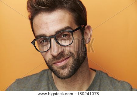 Glasses guy in studio portrait studio shot