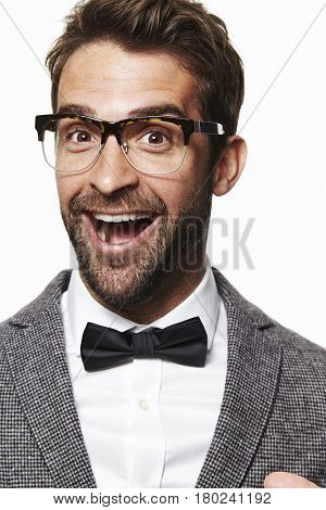 Portrait of guy in bow tie smiling