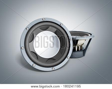 black loudspeakers 3d render on grey background