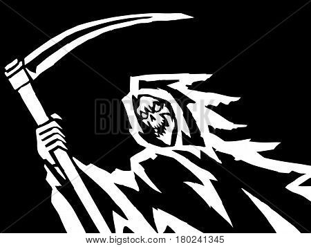 Black Death Vector Illustration. Spooky Apocalypse Demon. Spirit Rock Skull. Ghost Skeleton. Nightmare Terrible Mouth. Massacre Phantom Monster.
