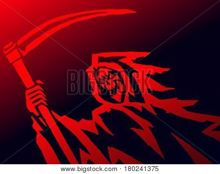 grim death with a scythe. evil character causing fear. vector Illustration.