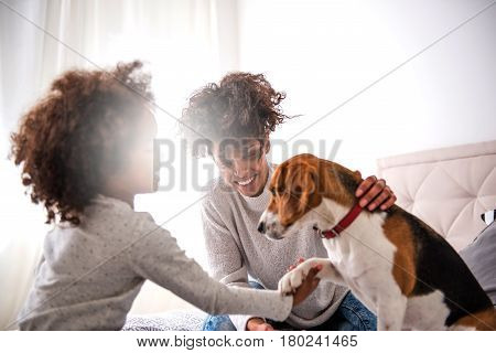 Young african american mother spending time with daughter playing with dog.