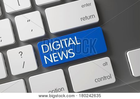 Digital News Concept Aluminum Keyboard with Digital News on Blue Enter Keypad Background, Selected Focus. 3D Render.