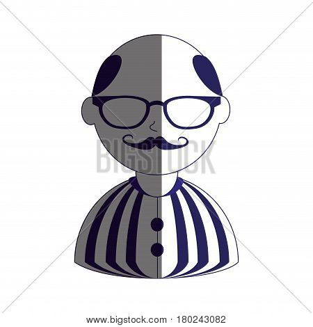 man half body silhouette color with mustache and glasses with shirt striped and bald vector illustration