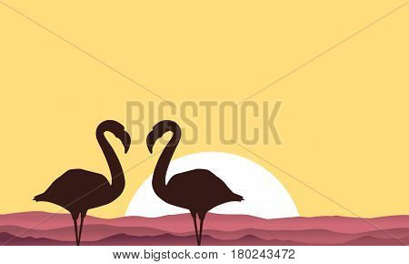 Lake scenery with flamingo silhouette vector illustration