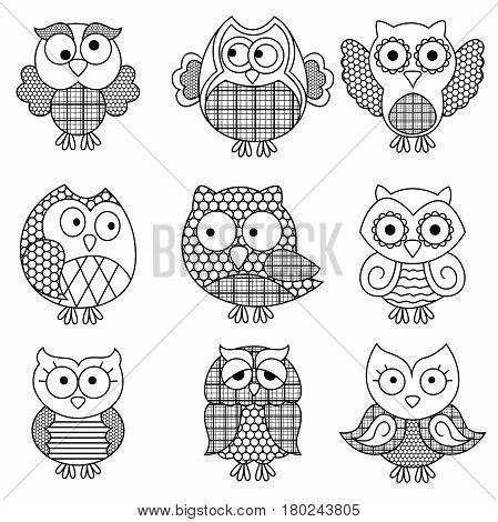 Nine Amusing Cartoon Owl Outlines