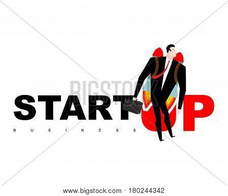Start Up. Businessman Jet Pack. Manager Is On Rocket. Business Concept.