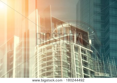 View Of Sunset Warm Light Background Of Glass High Rise Building Skyscraper Commercial Modern City O