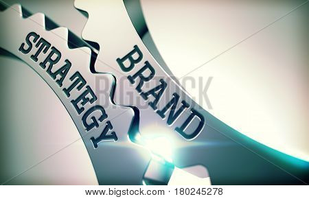 Brand Strategy on Mechanism of Metal Cog Gears. Business Concept in Technical Design. Brand Strategy on Mechanism of Metallic Gears with Glow Effect and Lens Flare - Interaction Concept. 3D .