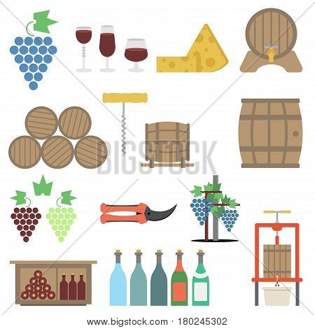 Vector vine making flat icon set isolated on white. Viticulture tools, barrels, shelves for storing bottles, cheese and grapes