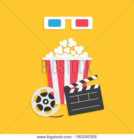 3D paper red blue glasses. Open clapper board Movie reel Popcorn Cinema Movie icon set. Flat design style. Yellow background. Vector illustration