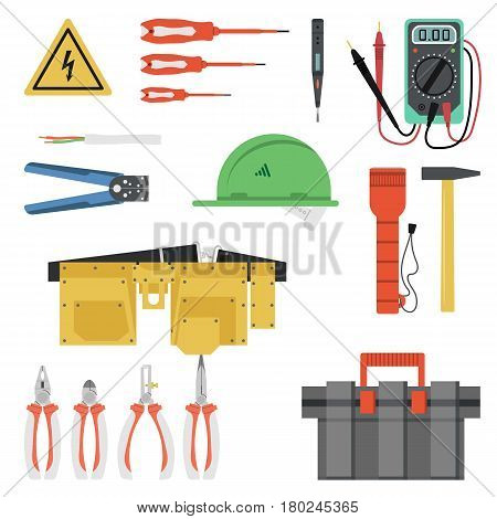 Vector electrician Tool Flat Set isolated on white background. Yellow hard hat, tool belt and box and many special professional devices