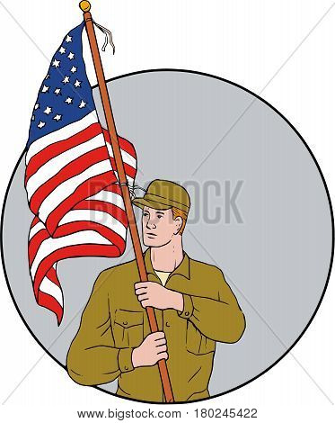 Drawing sketch style illustration of an american soldier serviceman looking to the side holding usa flag with pole on shoulder set inside circle on isolated background.