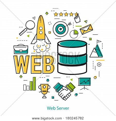 Vector concept of Web Server Concept in Thin Line Art Style. Blue internet disk and word WEB and technology business icons - server, handshake, rocket, user and presentation board