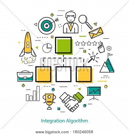 Vector Round Linear Concept - Integration Algorithm. Block diagram and different business icons