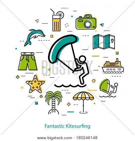 Vector concept of kitesurfing at summer holiday. Icon of surfer in center of round linear web banner with other beach and sea icons, palm tree, camera, boat, ship and dolphin