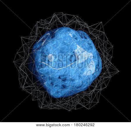 Encapsulated Blue bacteria cells. on black background, 3d illustration