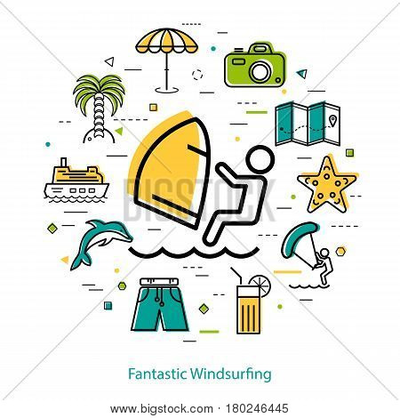Vector concept of windsurfing at summer holiday. Icon of surfer in center of round linear web banner with other beach and sea icons, palm tree, camera, boat, ship and dolphin