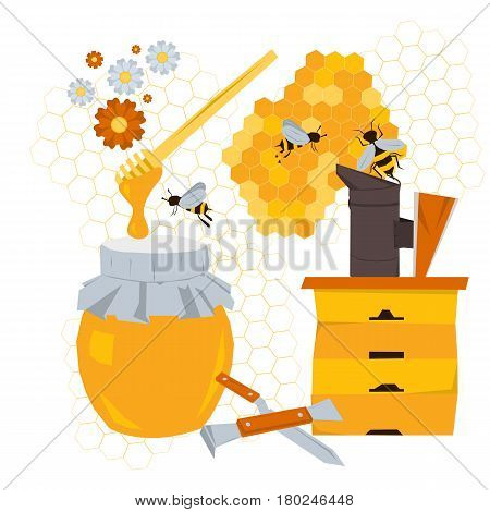 Vector beekeeping concept with products and equipment. Wooden hive, honey, bees on flowers, tools beekeeper, honeycomb n flat style isolated on white background