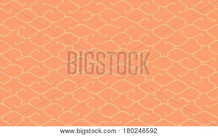 Isometric seamless pattern. Net broken digital beige color vector background. Rope texture with different endings of undone seamless lines with arrow.