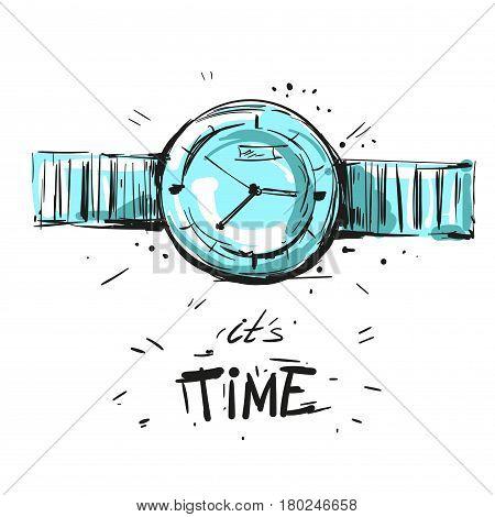 Watch fashion illustration hand drawn sketch time stock art