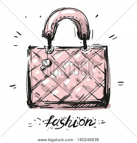 bag icon, vector illustration. Flat design eps 10 stock art pink bag