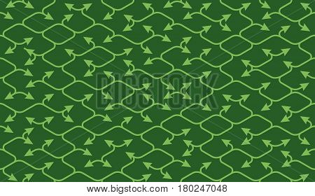 Isometric seamless pattern. Net broken digital green color vector background. Rope texture with different endings of undone seamless lines with arrow.
