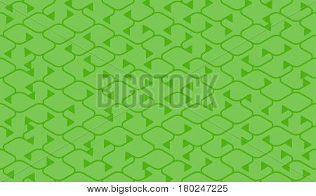 Isometric seamless pattern. Net broken digital green color vector background. Rope texture with different endings of undone seamless lines with flag.