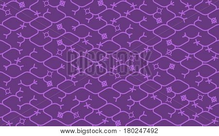 Isometric seamless pattern. Net broken digital purple violet color vector background. Rope texture with different endings of undone seamless lines.