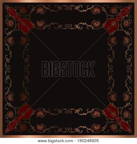 Vintage baroque frame scroll ornament engraving border floral retro pattern antique style acanthus foliage swirl decorative design element vector