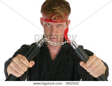 Martial Arts Man With Nun Chucks