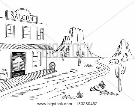 Wild west graphic black white prairie landscape sketch illustration vector