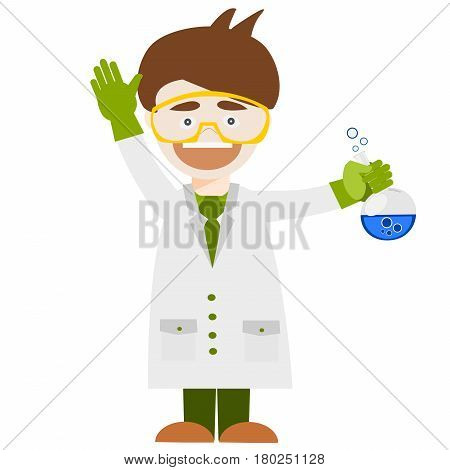 Cartoon chemistry concept with chemistry man. Chemistry laboratory. Chemistry test. Chemistry experiment. Children are studying and working in chemistry lab. Isolated chemistry. Chemistry fun. Chemistry concept. Chemistry lesson