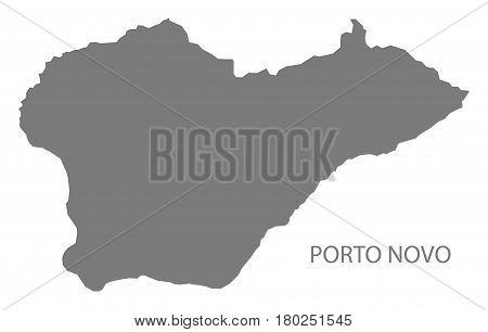 Porto Novo Cape Verde municipality map grey illustration silhouette poster