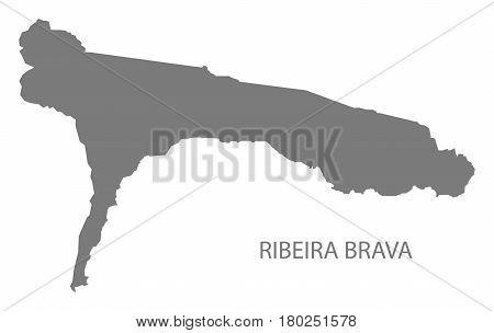 Ribeira Brava Cape Verde Municipality Map Grey Illustration Silhouette