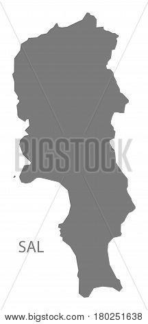 Sal Cape Verde Municipality Map Grey Illustration Silhouette