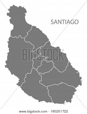 Santiago Cape Verde Municipality Map Grey Illustration Silhouette