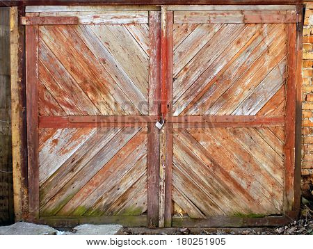 Old wooden gate of a barn with a padlock. Old gates collected from slanting slats with peeling paint.
