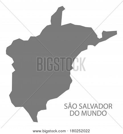 Sao Salvador Do Mundo Cape Verde Municipality Map Grey Illustration Silhouette