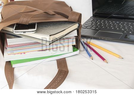 education all book in bag for study prepare go to school in white