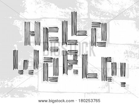 Salutatory card with stylized caption Hello World in grunge style on pale brick masonry background. Vector illustration