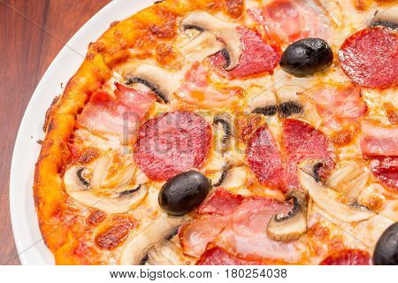 Top View Of Pizza Mushroom And Salam