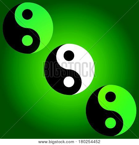 Yin and yang symbol on green background. Vecto illustration.