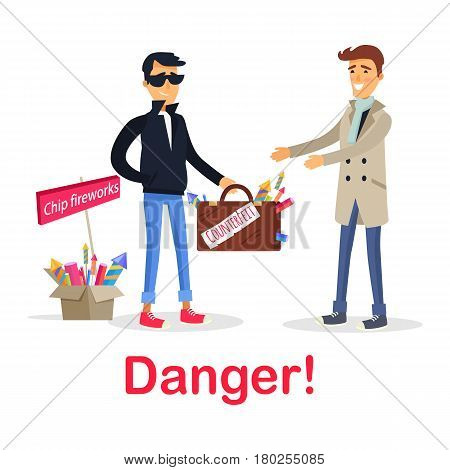 Process of buying counterfeit case with fireworks on white. Dangerous for health and life deal between unfair man in black and gullible smiling male person. Box of chip improper fireworks. Vector